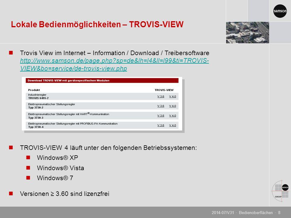 Lokale Bedienmöglichkeiten – TROVIS-VIEW
