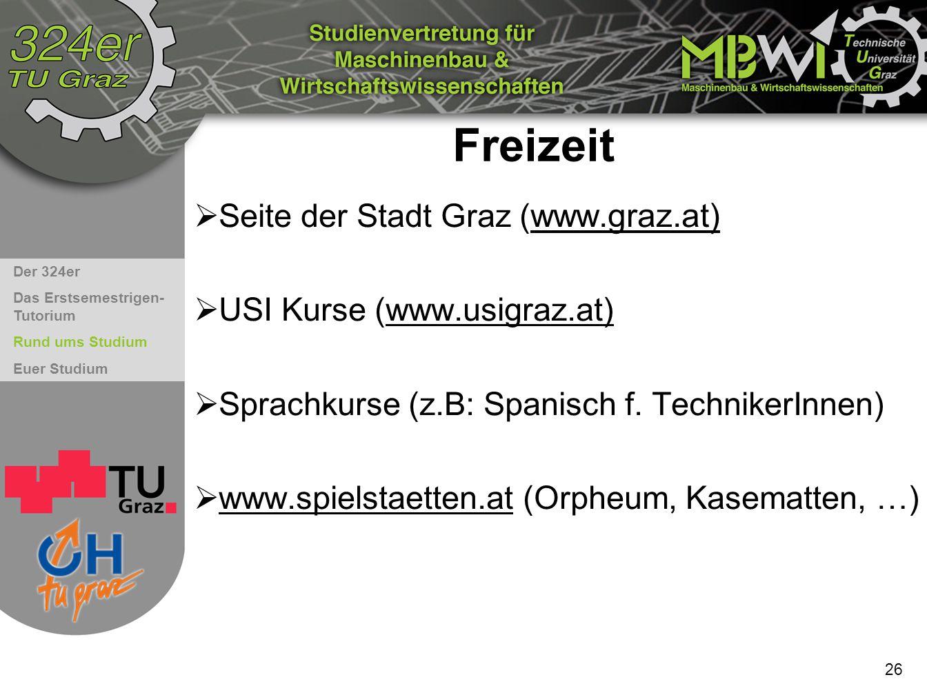 Freizeit Seite der Stadt Graz (www.graz.at) USI Kurse (www.usigraz.at)