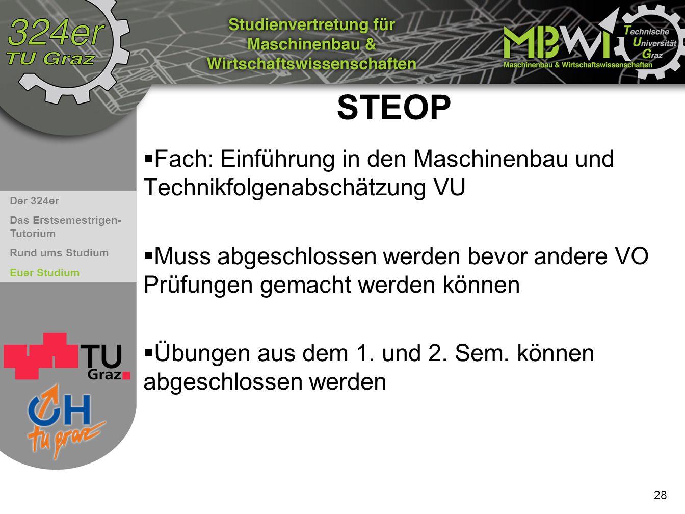 STEOP Fach: Einführung in den Maschinenbau und Technikfolgenabschätzung VU.