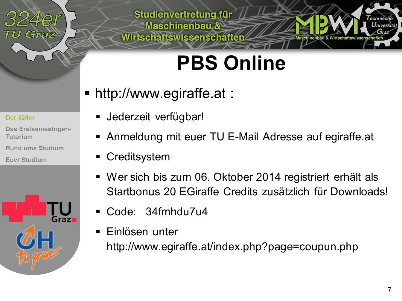 PBS Online http://www.egiraffe.at : Jederzeit verfügbar!