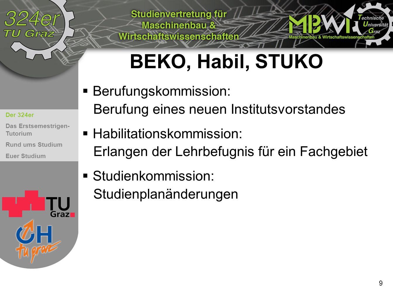 BEKO, Habil, STUKO Berufungskommission: Berufung eines neuen Institutsvorstandes.
