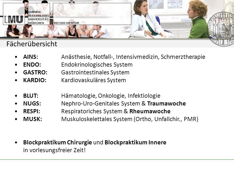 Fächerübersicht AINS: Anästhesie, Notfall-, Intensivmedizin, Schmerztherapie. ENDO: Endokrinologisches System.