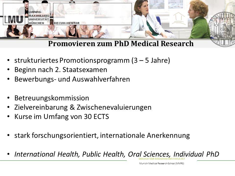 Promovieren zum PhD Medical Research