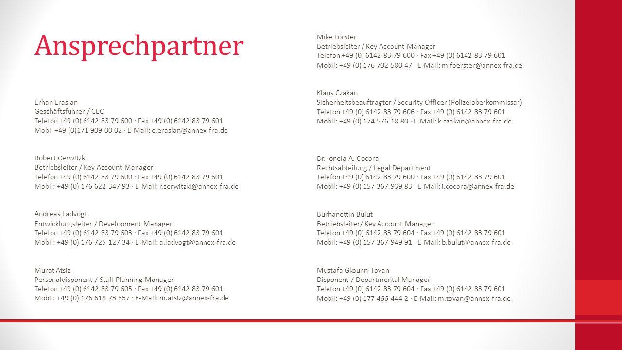 Ansprechpartner Mike Förster Betriebsleiter / Key Account Manager