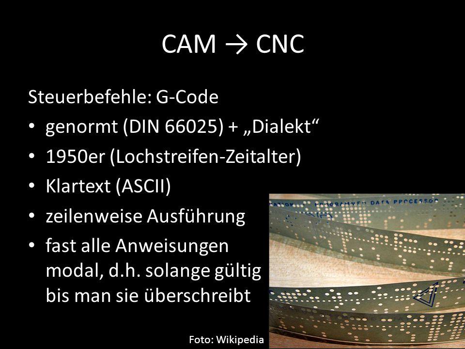 "CAM → CNC Steuerbefehle: G-Code genormt (DIN 66025) + ""Dialekt"