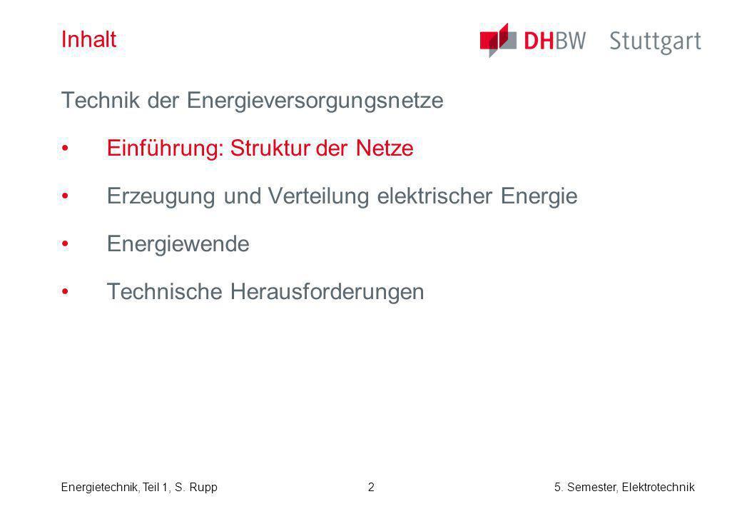 Inhalt Technik der Energieversorgungsnetze. Einführung: Struktur der Netze. Erzeugung und Verteilung elektrischer Energie.