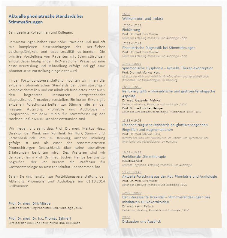 Aktuelle phoniatrische Standards bei Stimmstörungen
