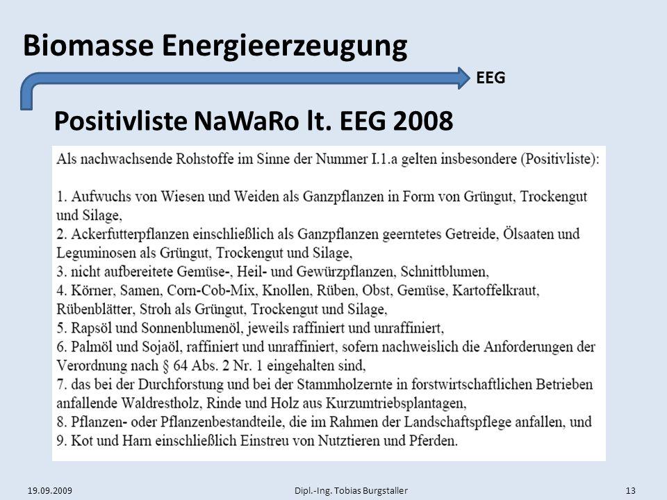Positivliste NaWaRo lt. EEG 2008