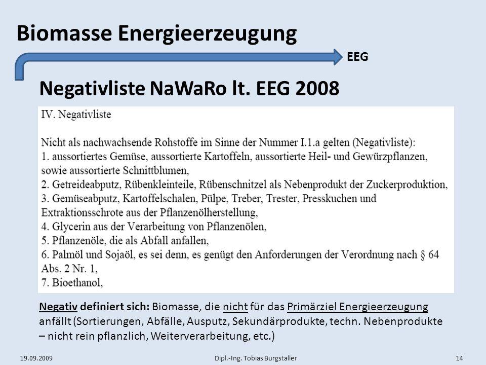 Negativliste NaWaRo lt. EEG 2008