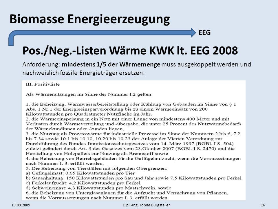 Pos./Neg.-Listen Wärme KWK lt. EEG 2008