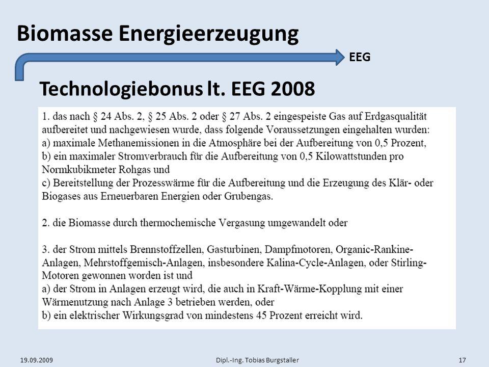 Technologiebonus lt. EEG 2008