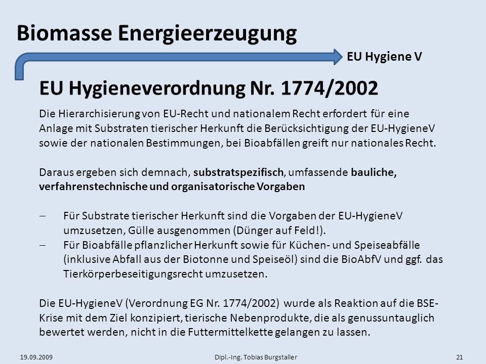 EU Hygieneverordnung Nr. 1774/2002