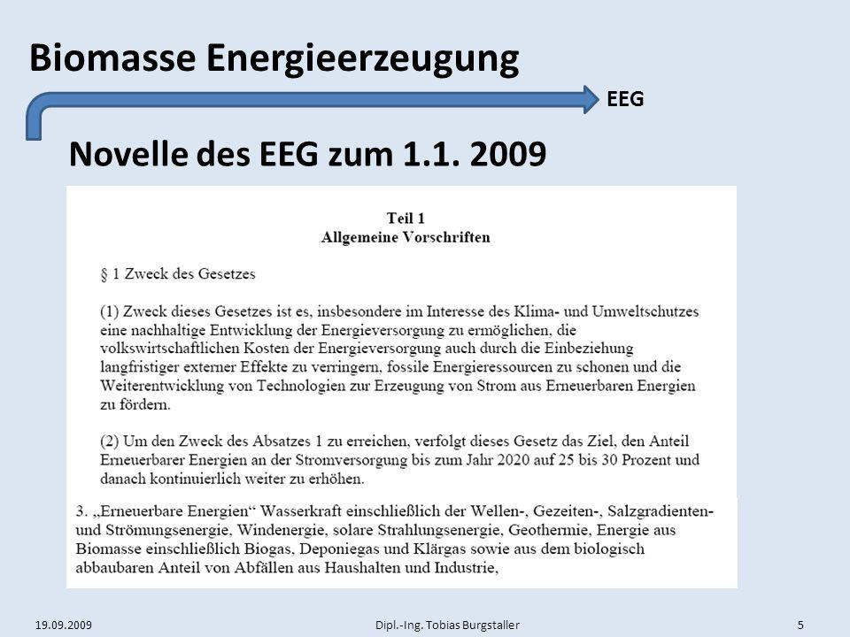 EEG Novelle des EEG zum 1.1. 2009