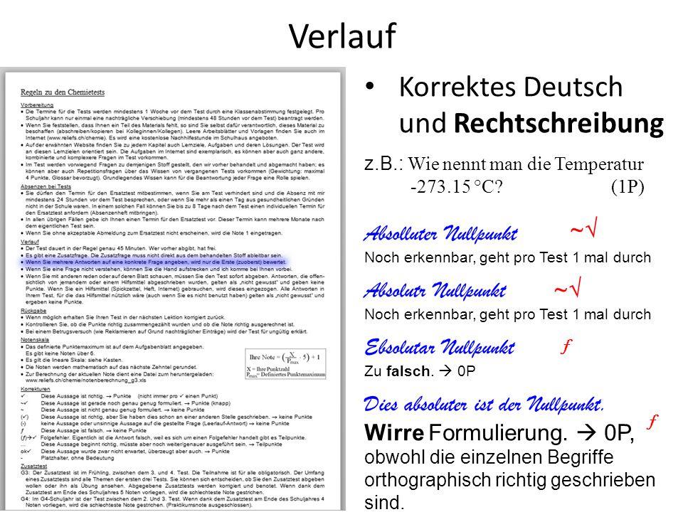 Verlauf Korrektes Deutsch und Rechtschreibung Absolluter Nullpunkt