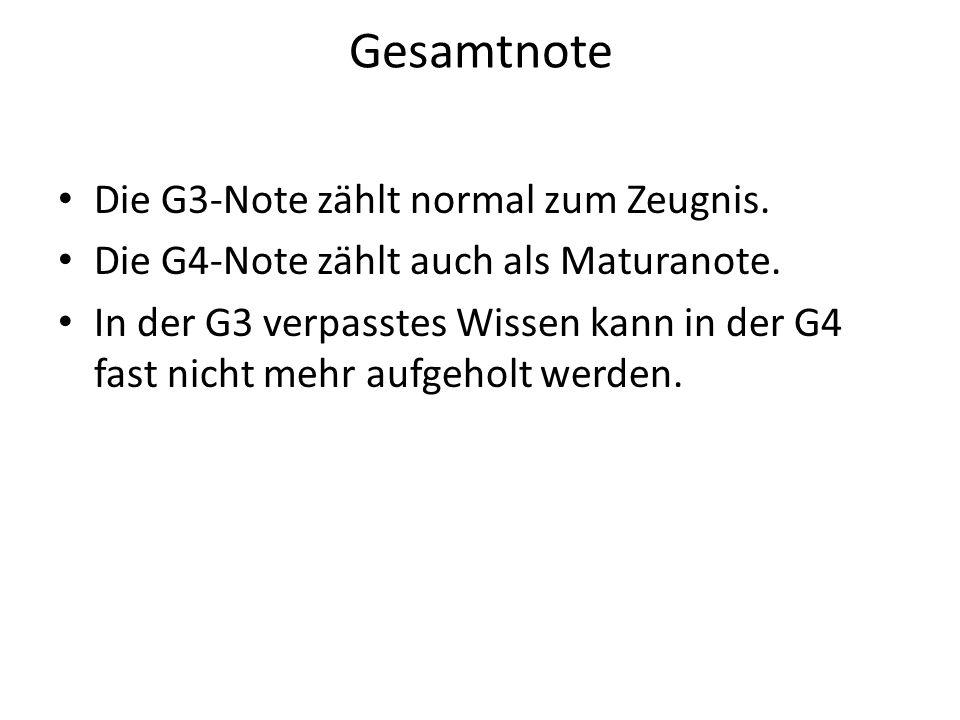 Gesamtnote Die G3-Note zählt normal zum Zeugnis.