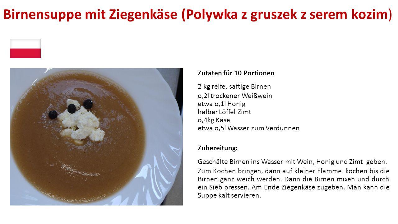 Birnensuppe mit Ziegenkäse (Polywka z gruszek z serem kozim)