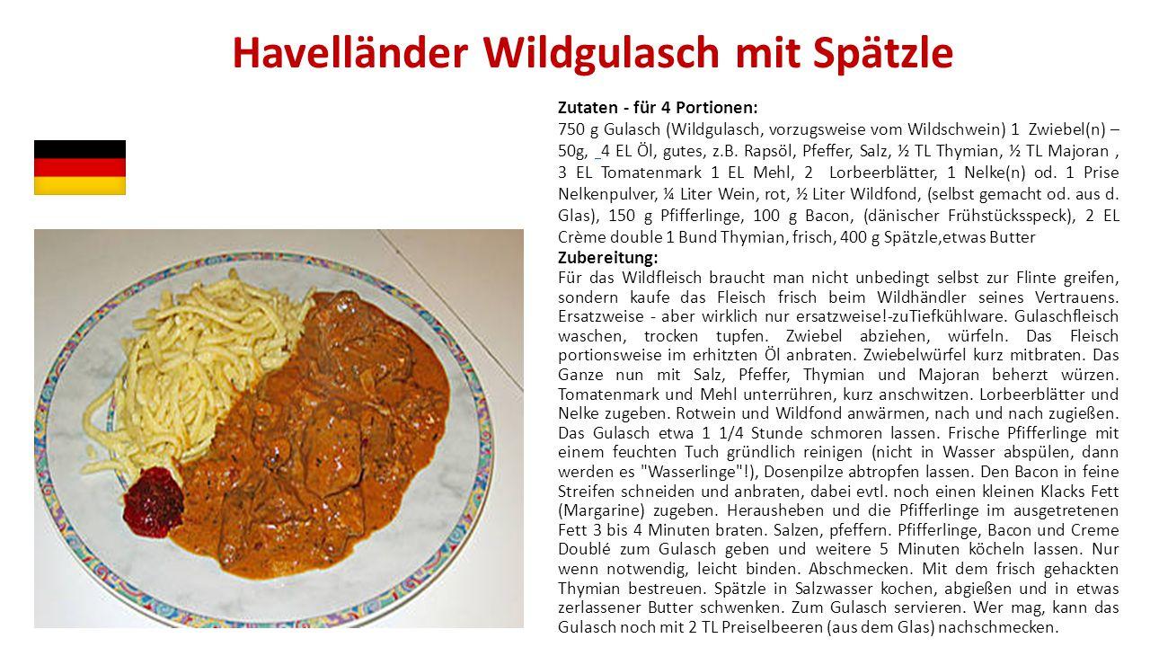 Havelländer Wildgulasch mit Spätzle