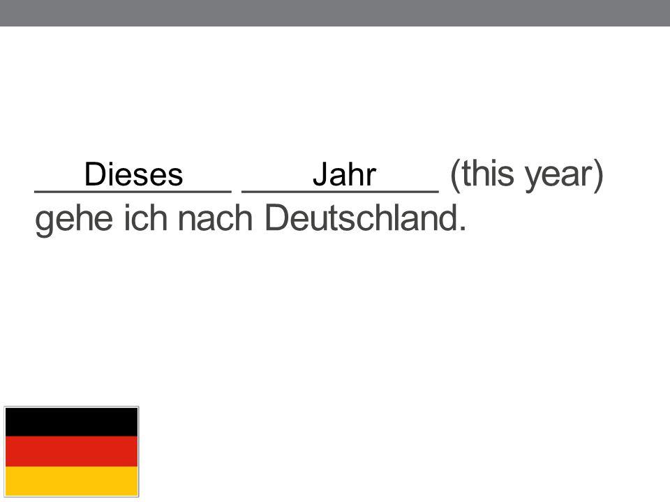 __________ __________ (this year) gehe ich nach Deutschland.