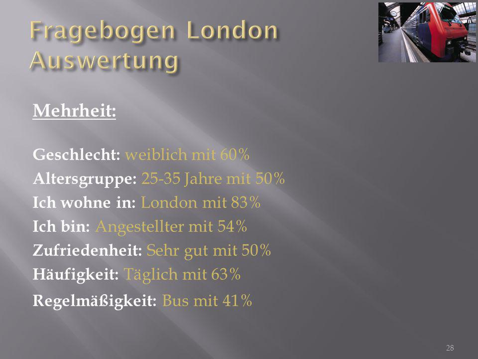 Fragebogen London Auswertung