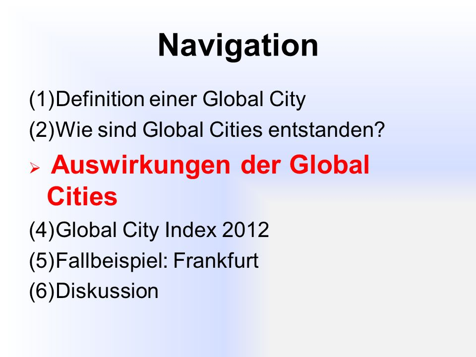 Navigation Definition einer Global City