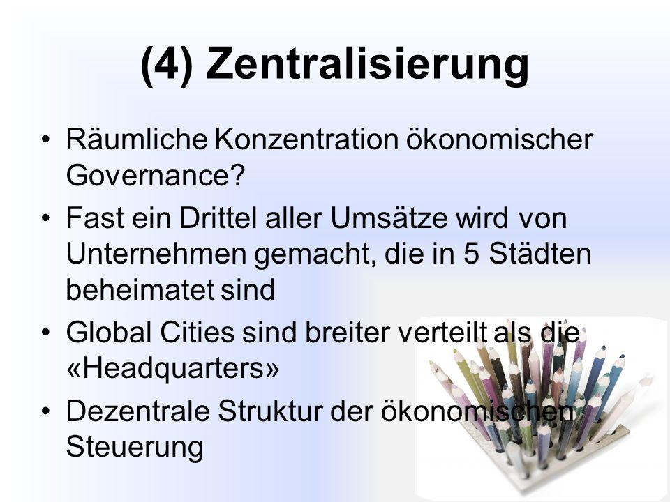 (4) Zentralisierung Räumliche Konzentration ökonomischer Governance