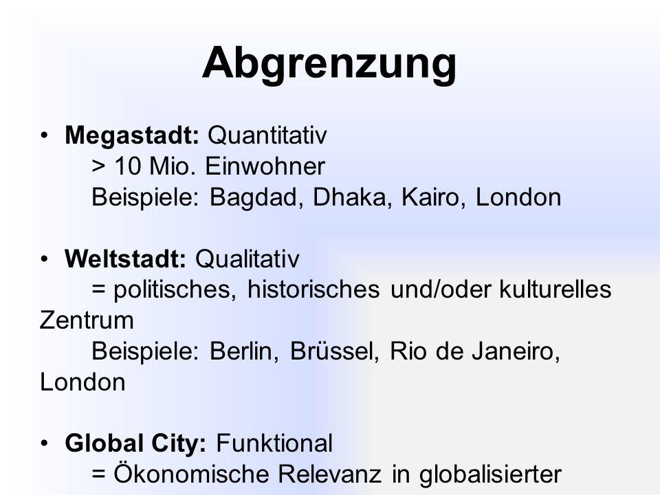 Abgrenzung Megastadt: Quantitativ > 10 Mio. Einwohner
