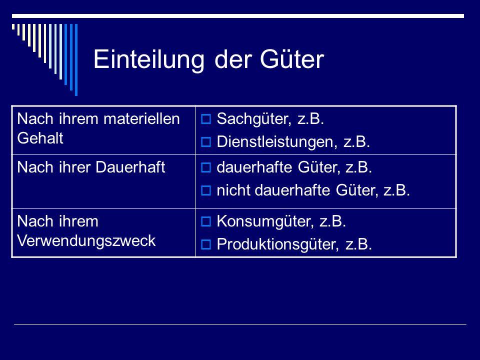 Einteilung der Güter Nach ihrem materiellen Gehalt Sachgüter, z.B.