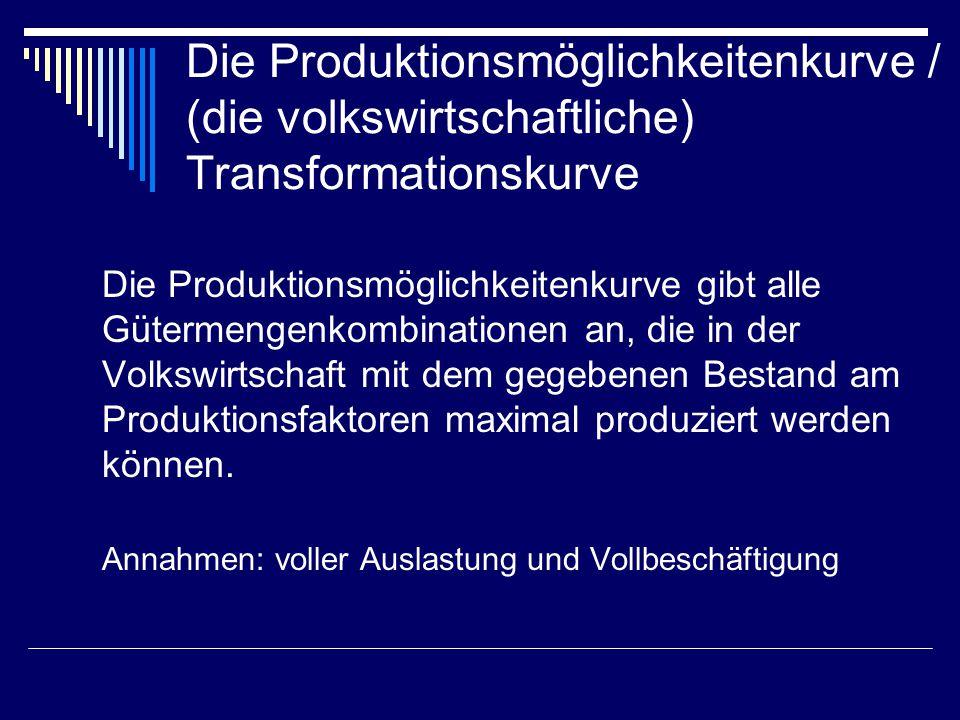 Die Produktionsmöglichkeitenkurve / (die volkswirtschaftliche) Transformationskurve
