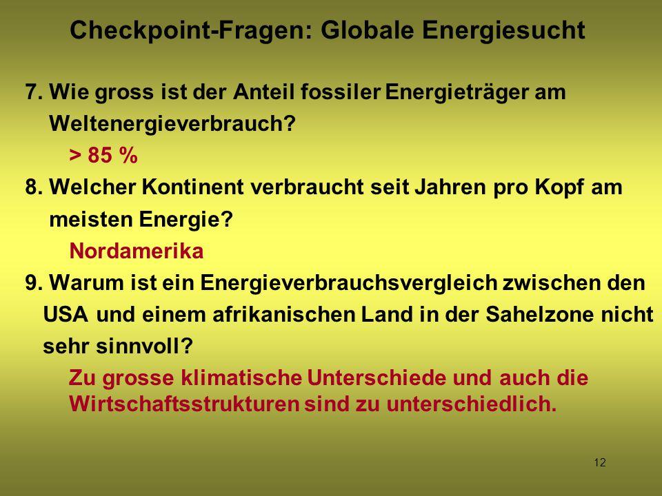 Checkpoint-Fragen: Globale Energiesucht