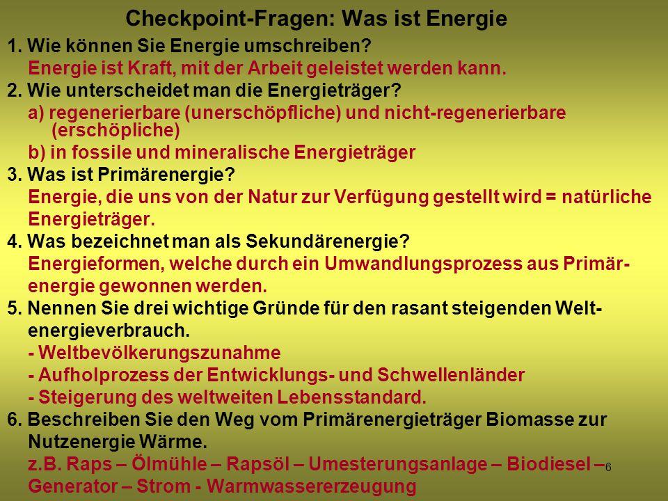 Checkpoint-Fragen: Was ist Energie