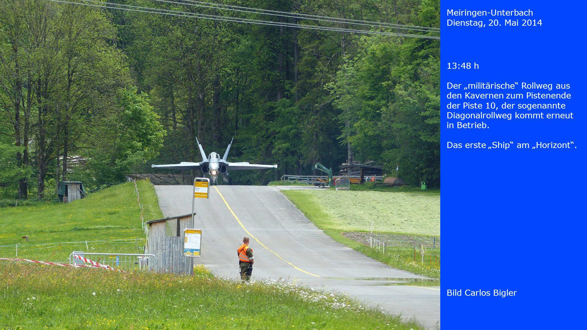 """Meiringen-Unterbach Dienstag, 20. Mai 2014. 13:48 h. Der """"militärische Rollweg aus den Kavernen zum Pistenende."""