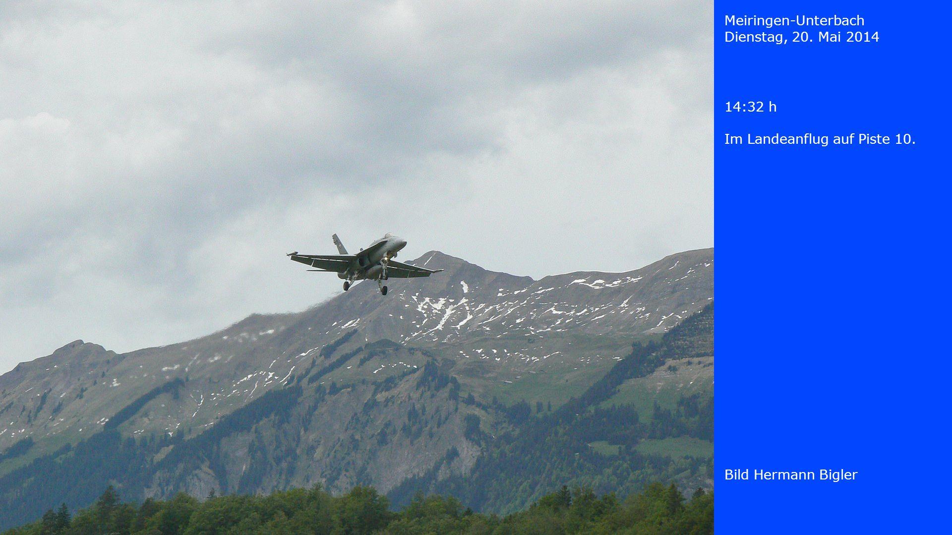 Meiringen-Unterbach Dienstag, 20. Mai 2014 14:32 h Im Landeanflug auf Piste 10. Bild Hermann Bigler