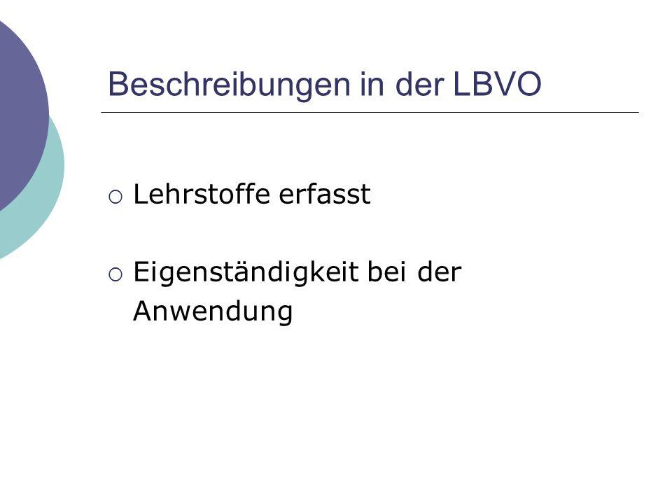 Beschreibungen in der LBVO