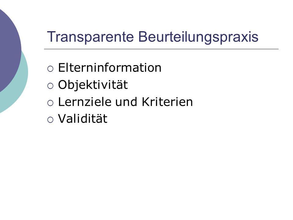 Transparente Beurteilungspraxis
