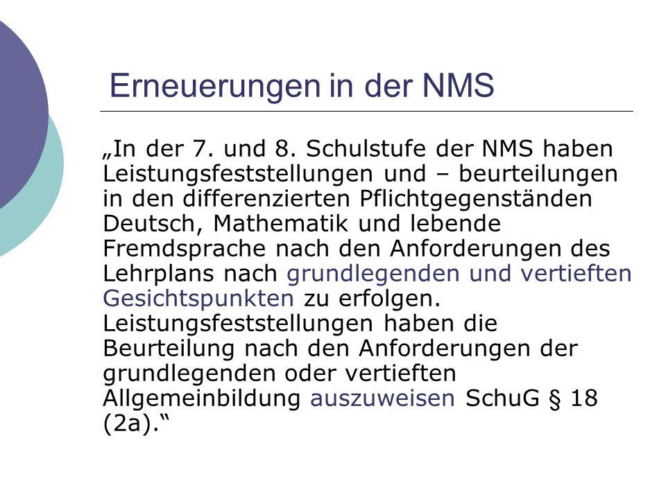 Erneuerungen in der NMS