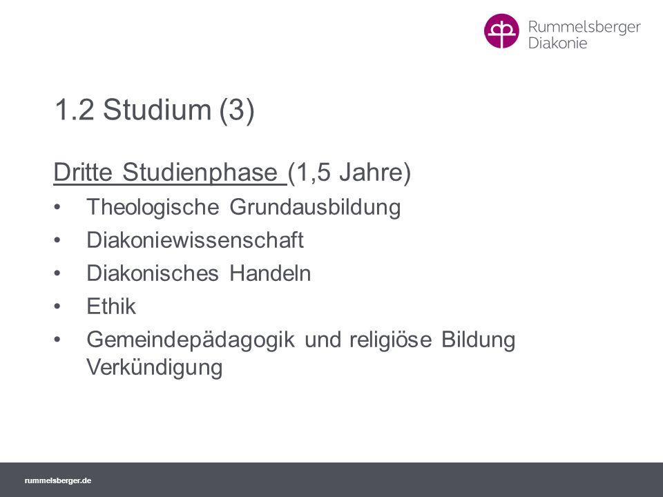 1.2 Studium (3) Dritte Studienphase (1,5 Jahre)