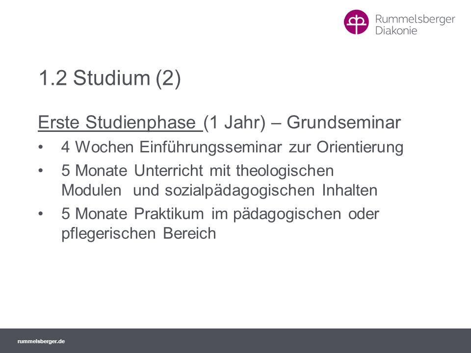 1.2 Studium (2) Erste Studienphase (1 Jahr) – Grundseminar