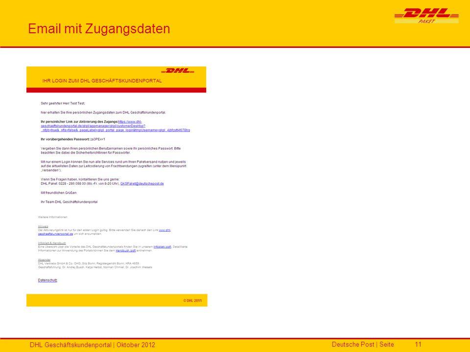 Email mit Zugangsdaten