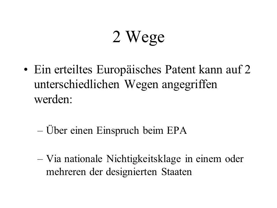 2 Wege Ein erteiltes Europäisches Patent kann auf 2 unterschiedlichen Wegen angegriffen werden: Über einen Einspruch beim EPA.