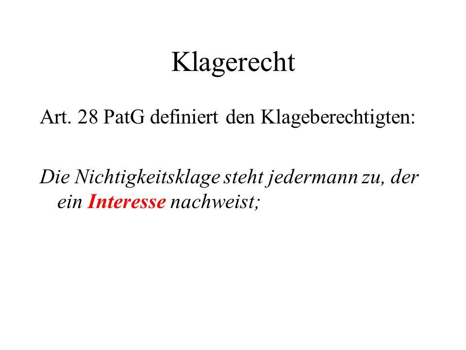 Klagerecht Art. 28 PatG definiert den Klageberechtigten: