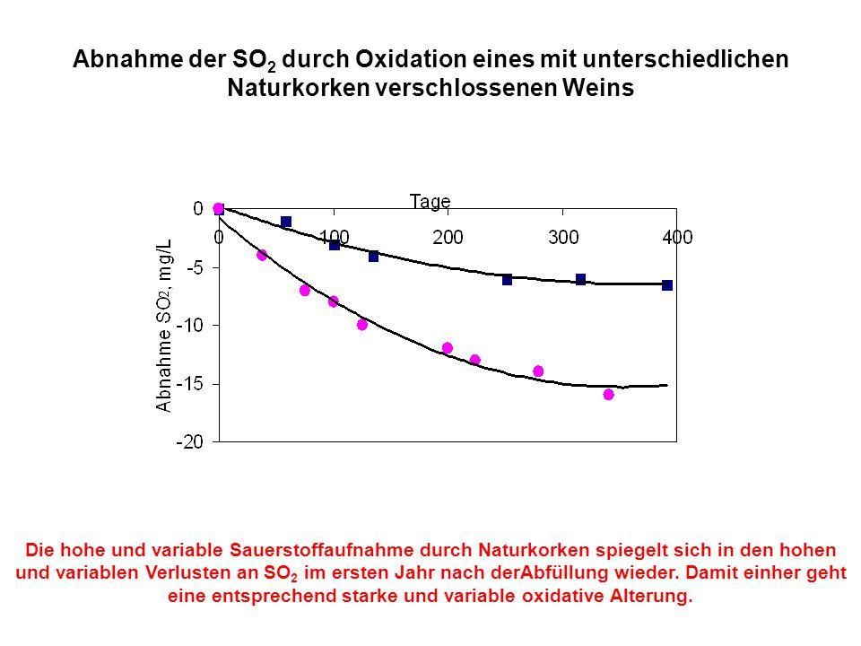 Abnahme der SO2 durch Oxidation eines mit unterschiedlichen Naturkorken verschlossenen Weins