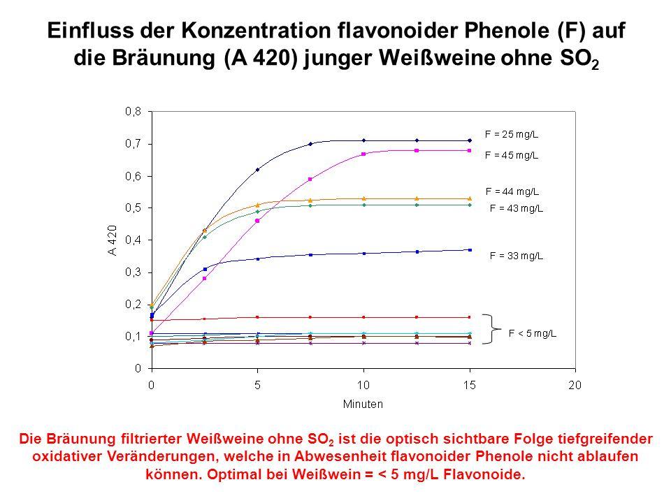 Einfluss der Konzentration flavonoider Phenole (F) auf die Bräunung (A 420) junger Weißweine ohne SO2