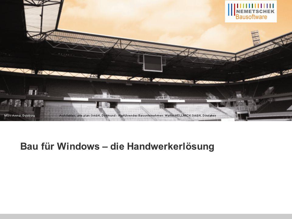 Die technischen Module von Bau für Windows