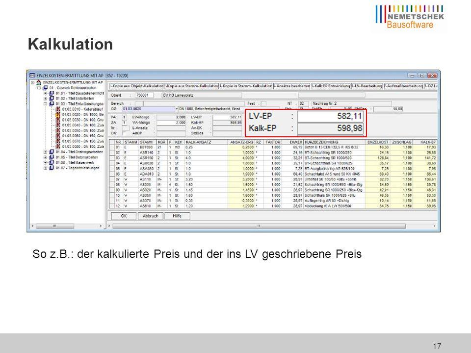Kalkulation ... aber auch die Aufgliederung der Kosten