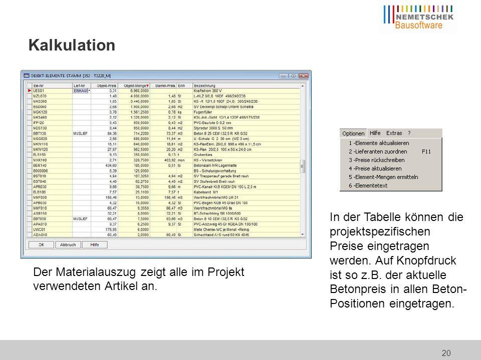 Kalkulation Nun noch den Projekt-Mittellohn zusammenstellen