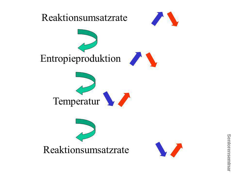 Reaktionsumsatzrate Entropieproduktion Temperatur Reaktionsumsatzrate