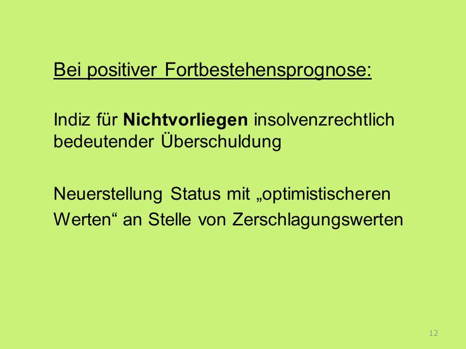 Bei positiver Fortbestehensprognose: