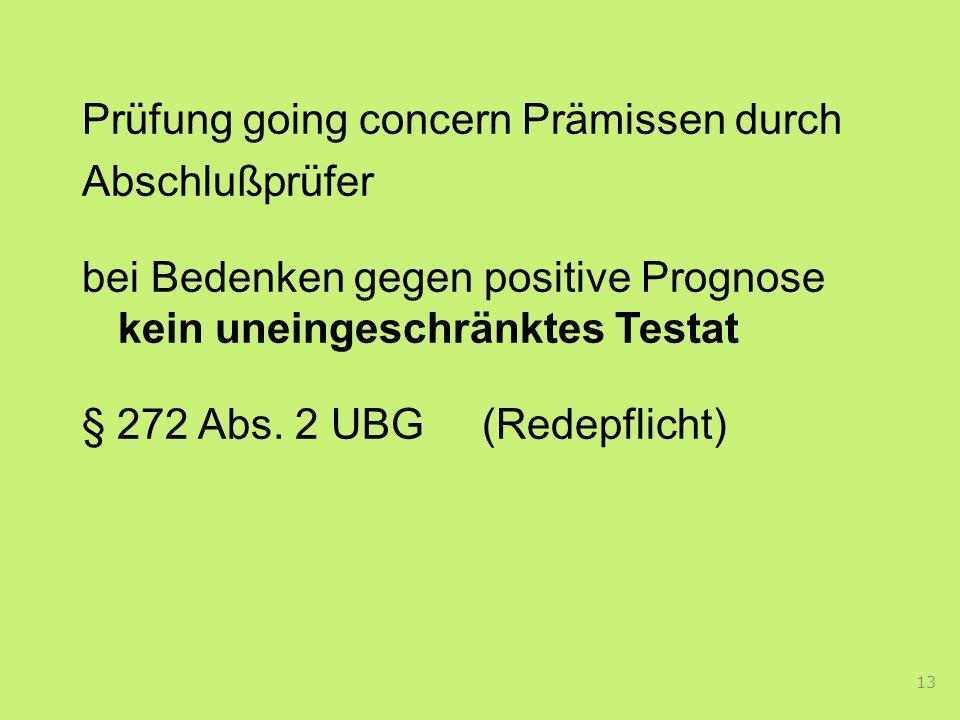Prüfung going concern Prämissen durch Abschlußprüfer bei Bedenken gegen positive Prognose kein uneingeschränktes Testat § 272 Abs.