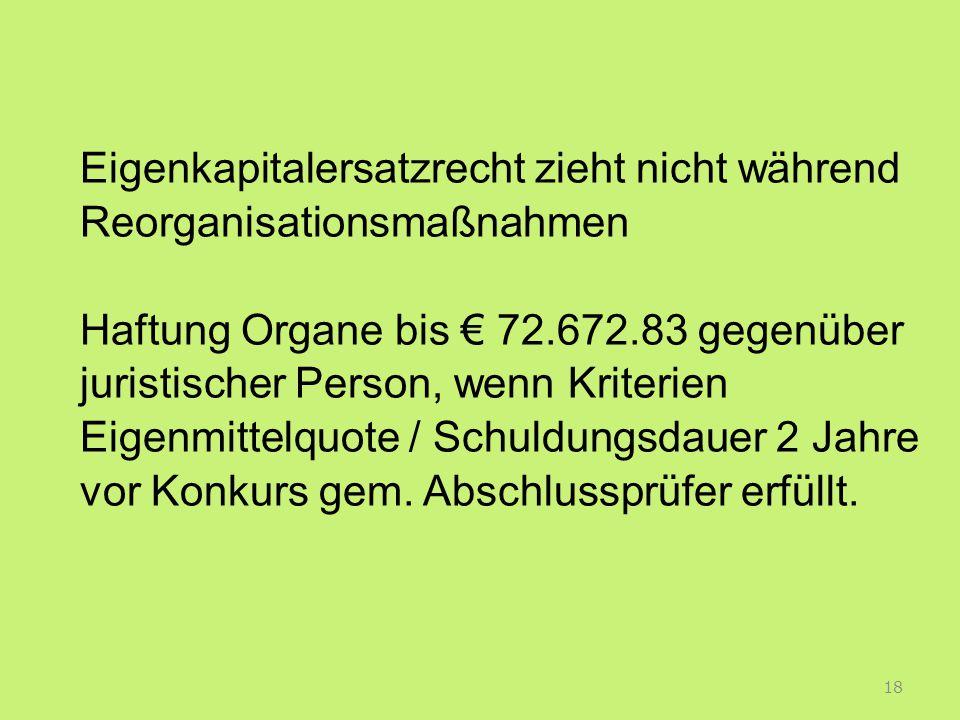 Eigenkapitalersatzrecht zieht nicht während Reorganisationsmaßnahmen Haftung Organe bis € 72.672.83 gegenüber juristischer Person, wenn Kriterien Eigenmittelquote / Schuldungsdauer 2 Jahre vor Konkurs gem.