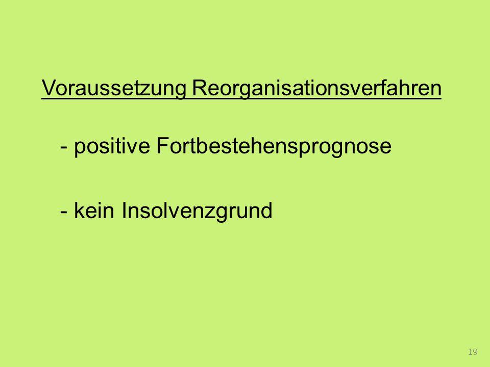 - kein Insolvenzgrund Voraussetzung Reorganisationsverfahren
